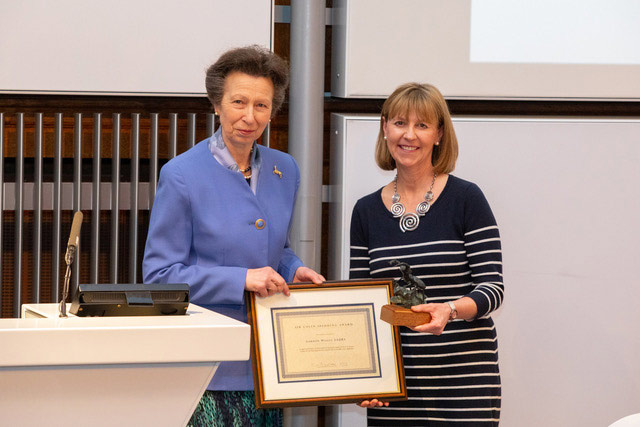 Boo Powe receives the Sir Colin Spedding Award from the HRH The Princess Royal on behalf of her father, Gordon Wesley, who was not able to attend the forum.