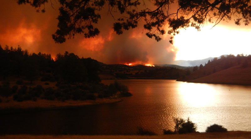 View from across Iron Gate Lake as the wildfire approached the Simpson ranch on July 6, 2018.