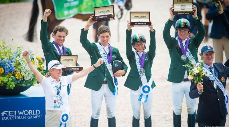 Ireland's Silver medal winning Irish Eventing team with manager Sally Corscadden at the 2018 World Equestrian Games.