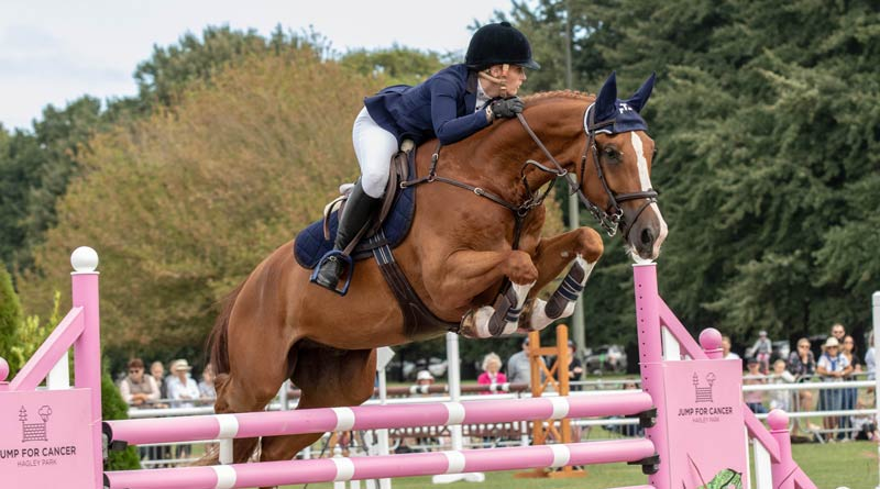 Olivia Robertson and Grandiere won the horse class at Hagley Park's Jump for Cancer.