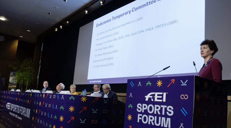 "Dr Sarah Coombs, FEI Endurance veterinarian and chair of the Endurance Temporary Committee, told delegates at the endurance session of the FEI Sports Forum that ""there was no future for international Endurance within the FEI if everything stayed the same""."