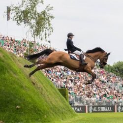 Michael Pender, 19, has won the Al Shira'aa Derby at Hickstead, riding Hearton Du Bois Halleeux. © Nigel Goddard