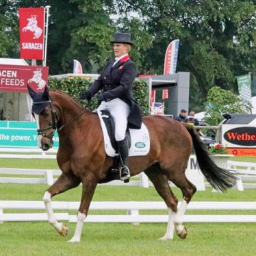Kitty King together with Vendredi Biats on their agency to winning the Bramham CCI King reigns at Bramham four-star Equus caballus trials