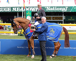 Eric Lamaze and Chacco Kid after winning the 2019 RBC Grand Prix of Canada. Lamaze last claimed the title in 2010 riding Hickstead.