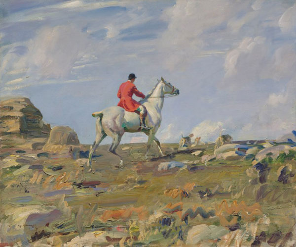 Sir Alfred Munnings photographed at plow over off a racing scene inwards  £2m expected for famous Munnings hunting work