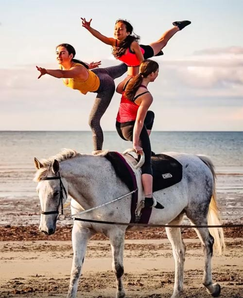 New Zealand vaulting squad members in training.