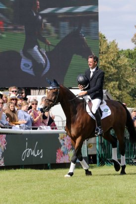Mark Todd rode Campino for one last time at Burghley, for his retirement presentation.
