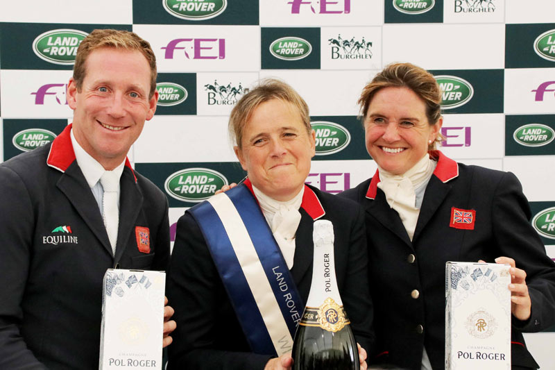 Burghley top three, from left, Oliver Townend (3rd), winner Pippa Funnell, and second placegetter Piggy French.