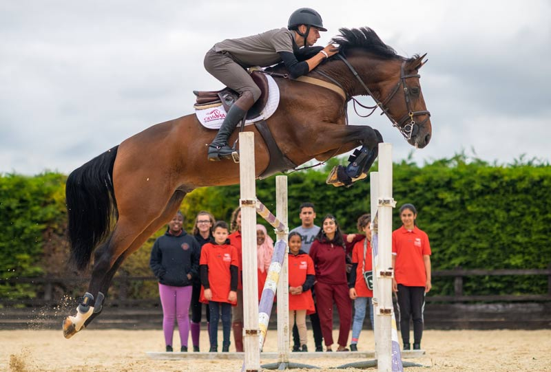 A jumping lesson from Joseph Stockdale was a highlight for youngsters taking part in the first Olympia Riding Academy event this week.