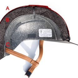 A helmet with a fibreglass shell (A), softer polystyrene inner (B) and a strap position (C) to prevent the helmet rolling forward in an impact.