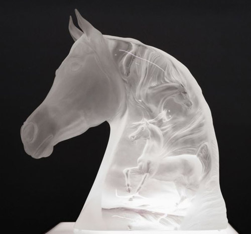 "The life-sized ""Seeking the Spirit"" Lucite Head Study Sculpture was a limited edition offering."