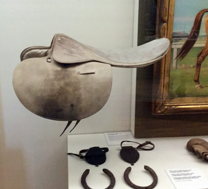 Phar Lap's saddle and some of his shoes at Melbourne Museum. Items of Phar Lap memorabilia at Melbourne Museum.