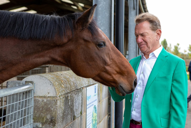 Michael Portillo during the filming of an episode of Great British Railway Journeys. © World Horse Welfare