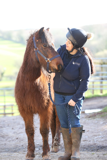 Mouse and his main trainer, Terri Saunders.