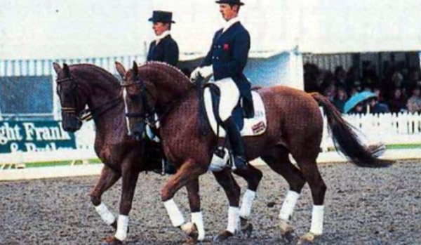 Carl Hester and Gershwin and Vicky Thompson-Winfield with Enfant won the pas de deux at the European Championships in Luxembourg in 1995.