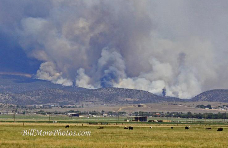 Dark, profuse, billowing smoke arising from the Pine Nut Mountain forest, shrubland and meadow life communities.