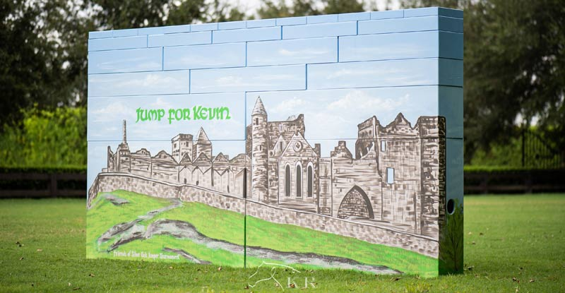 """Dalman Jump Co. designed the """"Jump for Kevin"""" wall with a mural of a castle near Kevin Babington's hometown."""