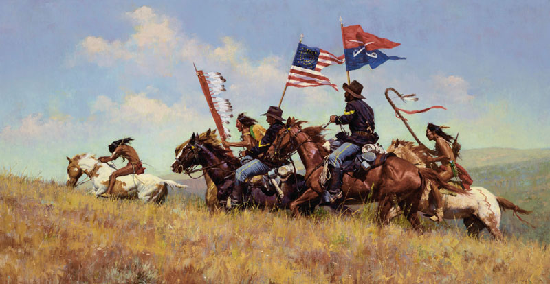 Howard Terpning's Flags on the Frontier, which was painted in 2001, is expected to fetch between $US700,000 and $US1 million.