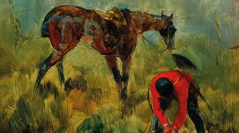 Detail of Henri de Toulouse-Lautrec's Cheval de chasse à courre (1880).