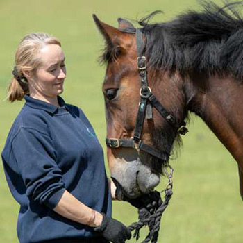World Horse Welfare's Glenda Spooner Farm Rescue and Rehoming Centre Manager Claire Dickie