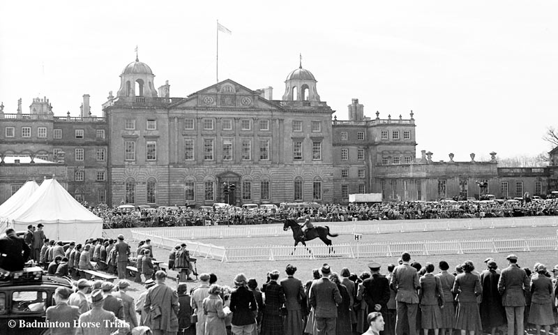The dressage arena in front of Badminton House, in 1954. The Main Arena was moved in 1960.