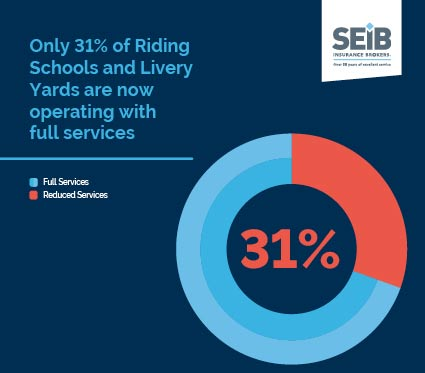 Only 31% of livery yards and riding schools are now operating with full services.