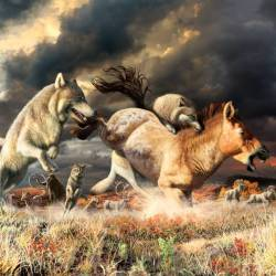 Gray wolves take down a horse on the mammoth-steppe habitat of Beringia during the late Pleistocene, around 25,000 years ago. Image: Julius Csotonyi © Canadian Museum of Nature