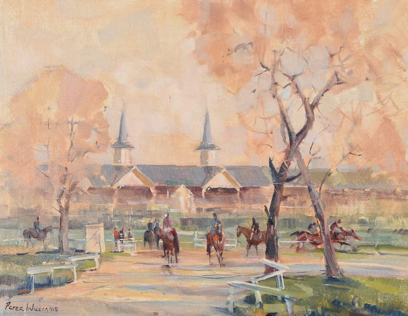 Highfield Stables at Bedford House Stables, Newmarket by Peter Williams (1934-2018).