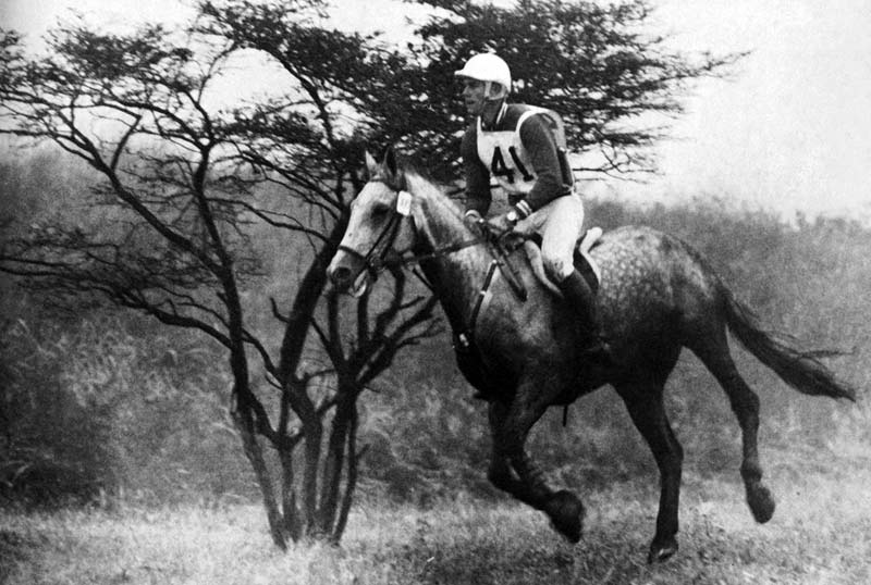 US team member Michael Plumb and Bold Minstrel on the cross-country at Tokyo 1964. The US team won silver.