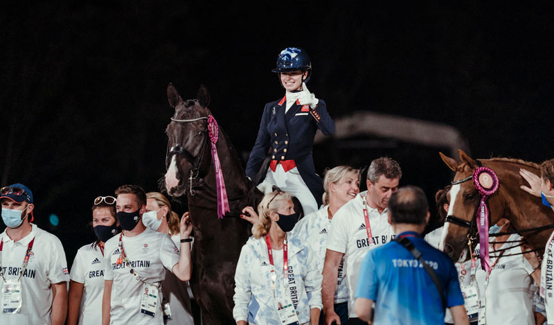 Charlotte Fry and Everdale following the British team's bronze medal performance.