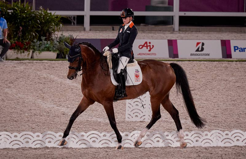 Rixt van der Horst (NED) with Findsley in Grade 3 on the first day of the para dressage team competition at the Tokyo 2020 Paralympics.