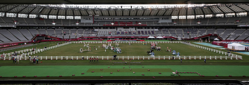 The arena for the jumping phase of the women's modern pentathlon.