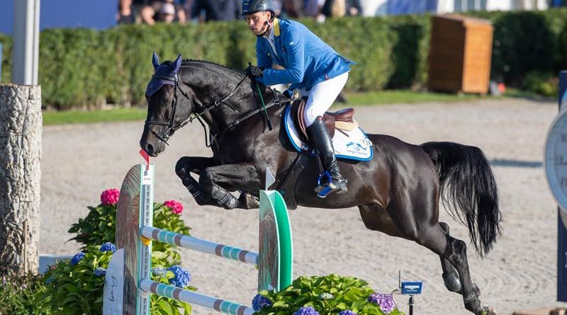Christian Ahlmann and Querido VG Z won the five-year-old title at the FEI WBFSH Jumping World Breeding Championship for Young Horses at Lanaken.