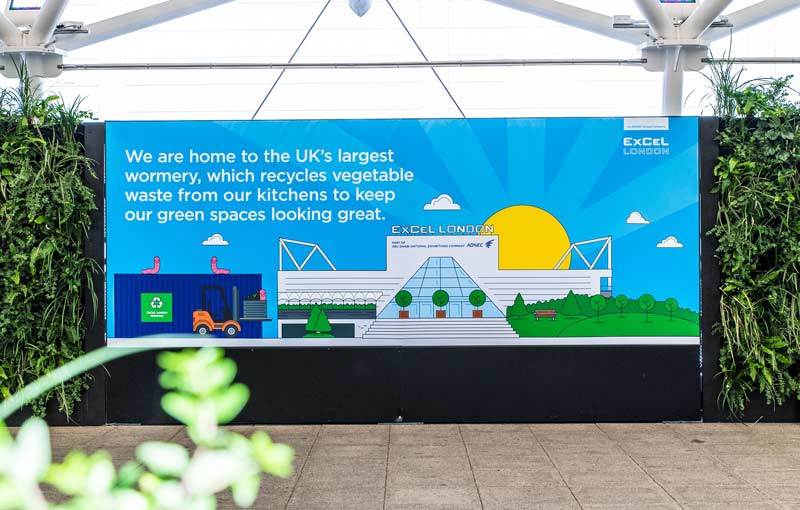 The work of ExCeL London's 300,000 worms is used to fertilise the green spaces around the site.