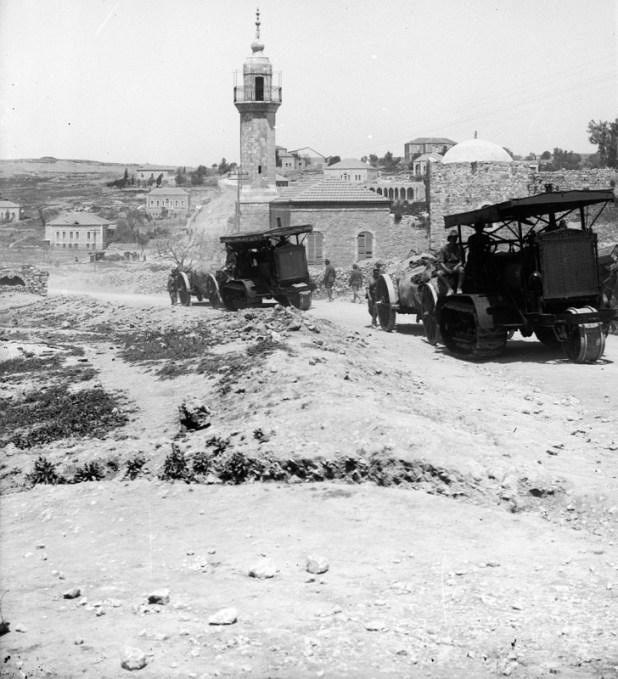 עיבוד לצילום סטריאוסקופי של סלילת דרך שכם ליד מסגד שייח' ג'ראח על ידי הבריטים ב-1918