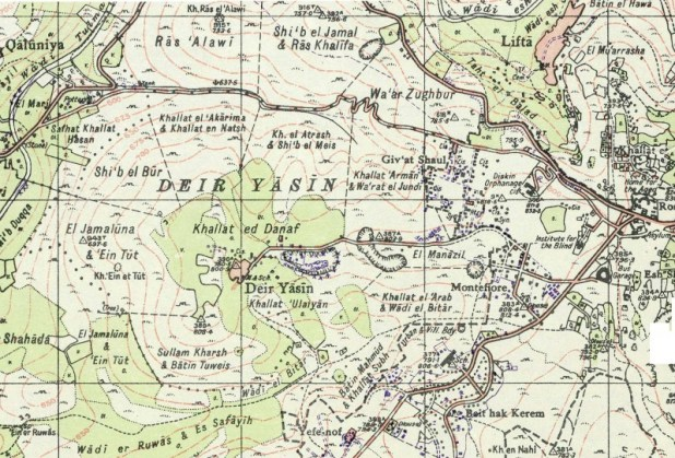 Map showing Deir Yassin and surrounds in 1948