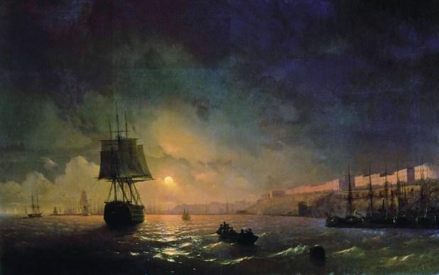 איורו של איוואן אייוואזובסקי אודסה בליל ירח מלא. 1846