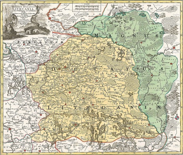 הדוכסות הליטאית הגדולה, מפה מאת טוביאס לוטר (Tobias Lotter), 1780