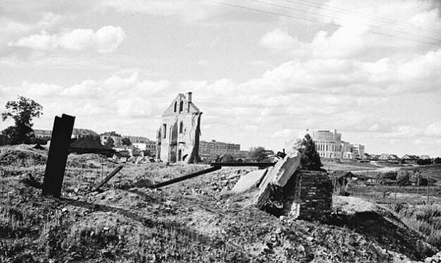 Downtown Minsk - Belarusian capital, that was completely demolished in WWII by the bombings. The large building in the distance is an Opera House.
