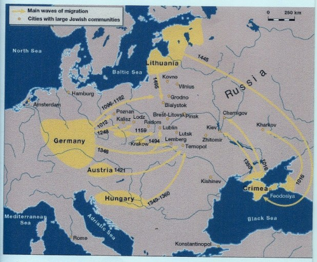 Jewish immigration from Germany eastward