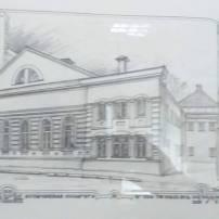 ציורי מוסדות יהודיים במוגילב מקשטים את בית הכנסת הליטאי (פירסום ברשות בית הכנסת)