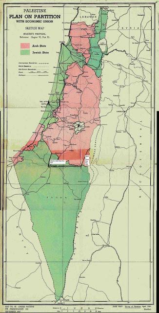"""מפת """"תוכנית הרוב"""" של ועדת אונסקו""""פ ששרטט הדיפלומט השוודי פאול מוהן. המדינה היהודית בירוק."""