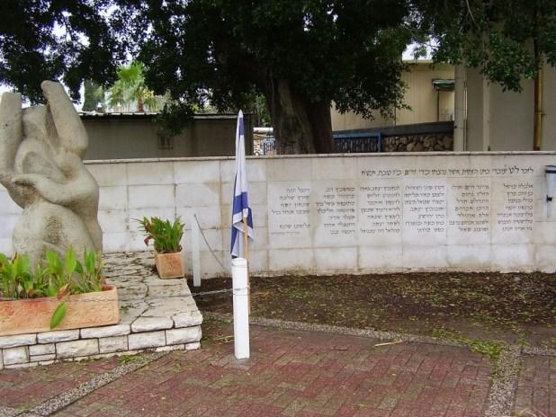 אנדרטה בחצר בתי הזיקוק, לעובדי בתי הזיקוק שנרצחו על ידי ערבים ב-30/12/1947 צילום:dr. avishai teicher User:Avi1111