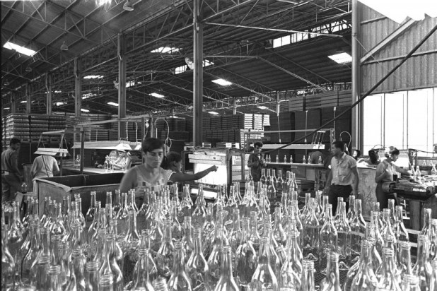 Workers at Tempo Glass bottles factory, 1968 Public Domain