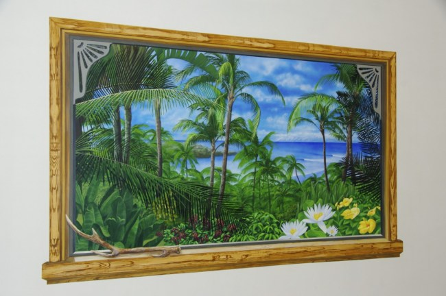 窓から見える椰子