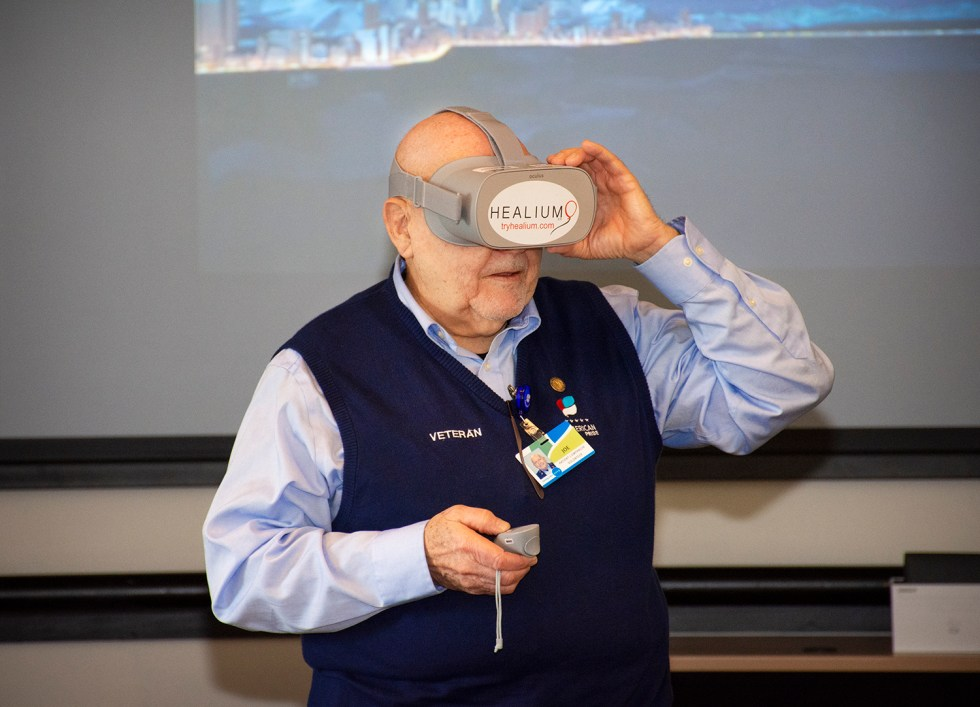 Veteran Watching Virtual Memorial Tour