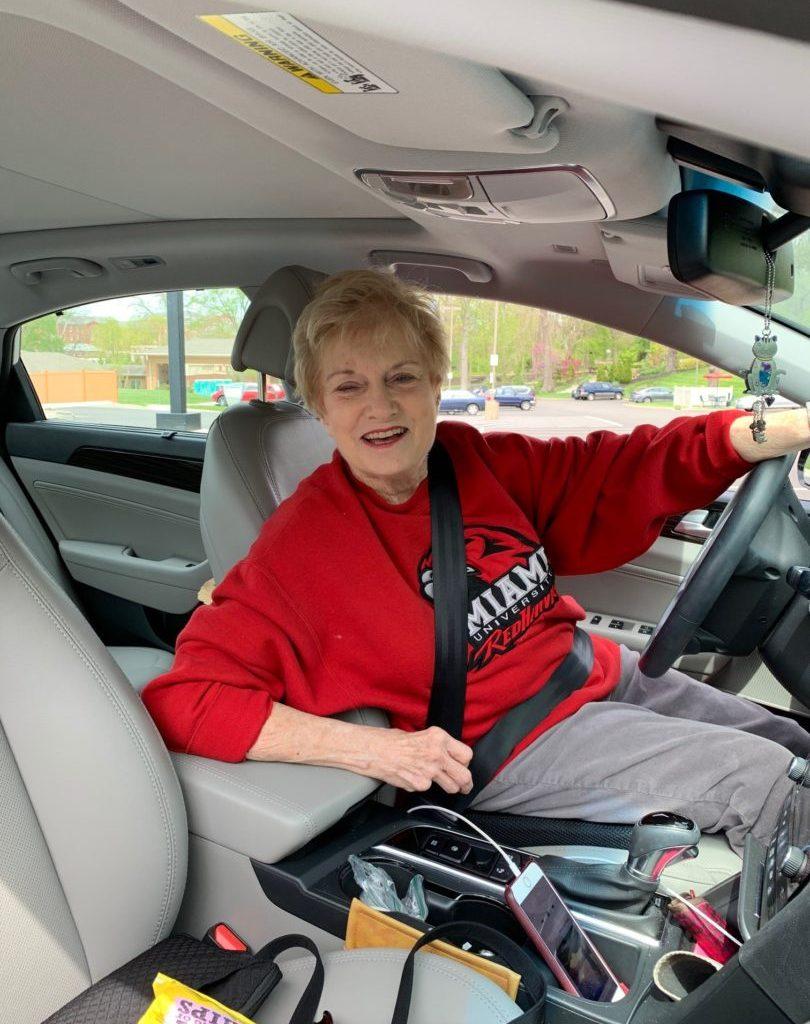 Janet Rinehart sitting in her car