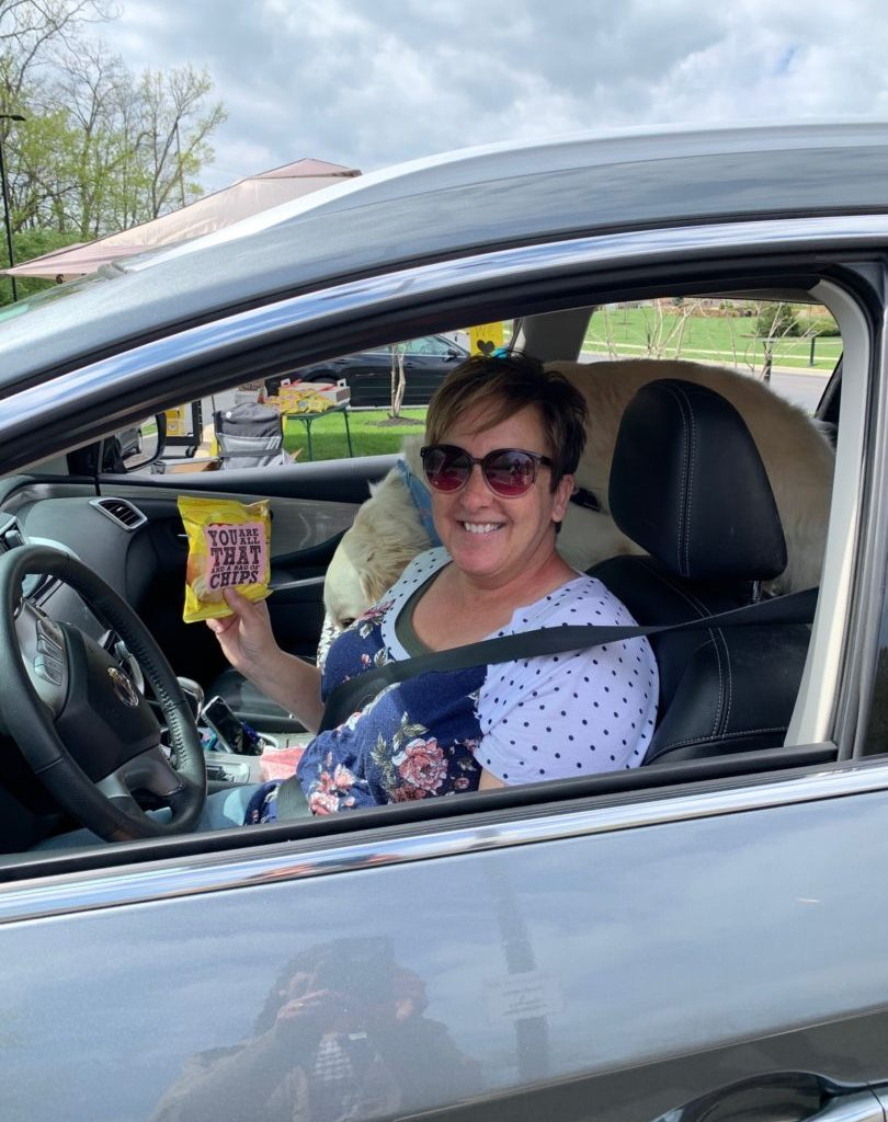 Susie McCoy sitting in her car