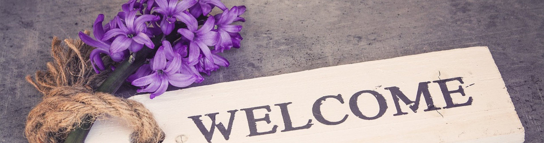flower welcome sign
