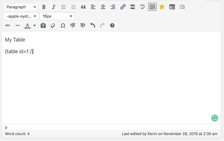 Menambahkan tabel WordPress ke post
